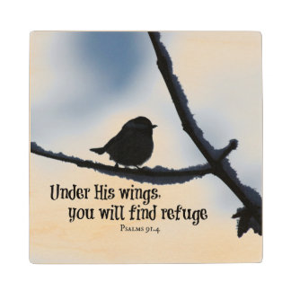 Under His wings Bible Verse Wooden Coaster