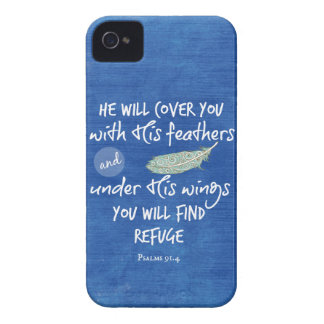 Under His Wings you will find Refuge Bible Verse iPhone 4 Case-Mate Case