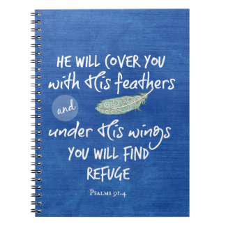 Under His Wings you will find Refuge Bible Verse Spiral Notebook