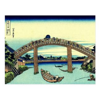 Under Mannen Bridge at Fukagawa (by Hokusai) Postcard
