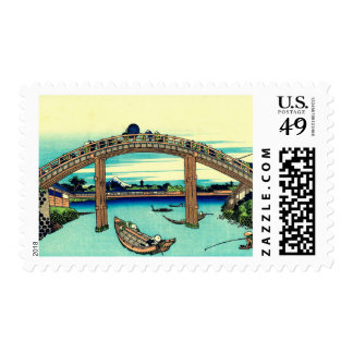 Under Mannen Bridge at Fukagawa Postage Stamps