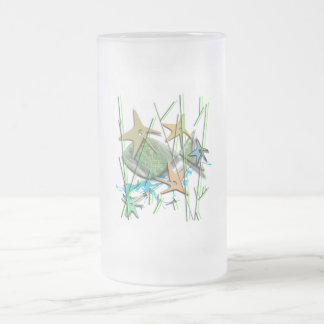 Under more water motif frosted glass beer mug