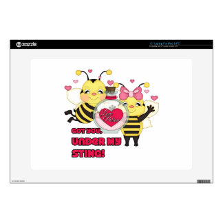 Under My Sting Funny Valentine Bees Laptop Skins