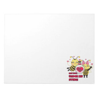 Under My Sting Funny Valentine Bees Memo Note Pad