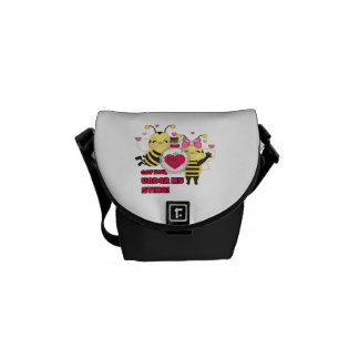 Under My Sting Funny Valentine Bees Messenger Bags