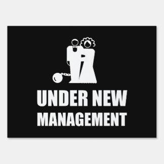 Under New Management Wedding Ball Chain Yard Sign