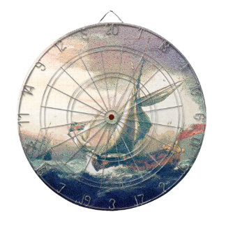 Under Rainbow Clouds Ships Sailing the Open Seas Dartboard