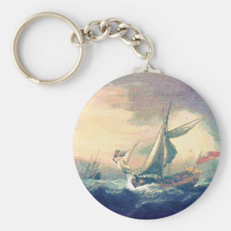 Under Rainbow Clouds Ships Sailing the Open Seas Keychain