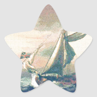 Under Rainbow Clouds Ships Sailing the Open Seas Star Sticker