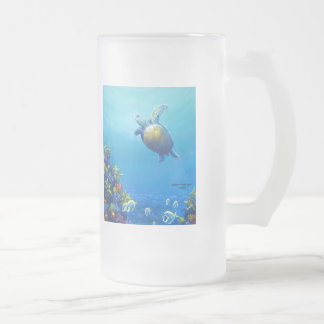 Under Sea Life Frosted Glass Beer Mug