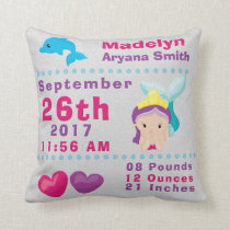 Under Sea Mermaid Dolphin Birth Announcement Stats Throw Pillow
