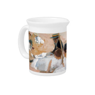 Under The Awning, On The Beach at Zarauz - Sorolla Drink Pitcher