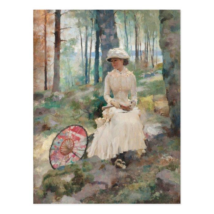 Under the birches CC0067 Albert Edelfelt Postcard
