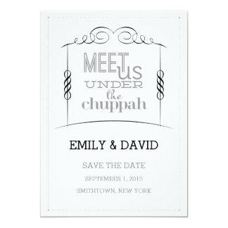 Under the Chuppah Jewish Wedding Save the Date 5x7 Paper Invitation Card