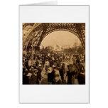 Under the Eiffel Tower 1900 Paris Expo Vintage Card