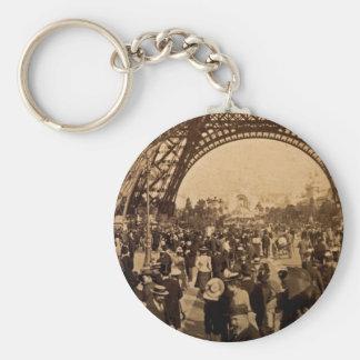 Under the Eiffel Tower 1900 Paris Expo Vintage Keychain