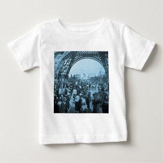Under the Eiffel Tower 1900 Paris Exposition Cyan Baby T-Shirt