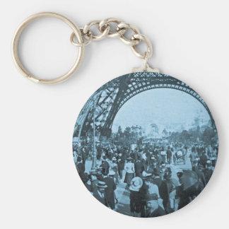Under the Eiffel Tower 1900 Paris Exposition Cyan Keychain