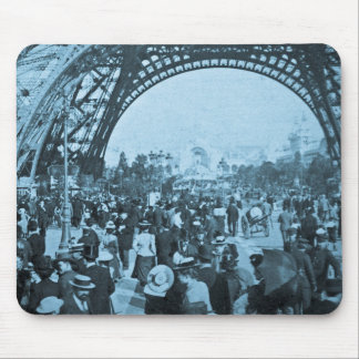 Under the Eiffel Tower 1900 Paris Exposition Cyan Mouse Pad
