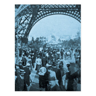 Under the Eiffel Tower 1900 Paris Exposition Cyan Postcard