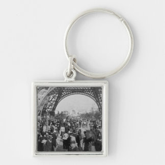 Under the Eiffel Tower 1900 Paris Exposition Silver-Colored Square Keychain