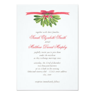 Under the Mistletoe Wedding Invitation