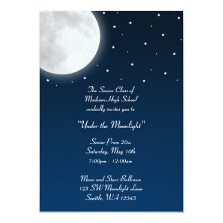 """Under the Moonlight Party Dance Prom Formal 5"""" X 7"""" Invitation Card"""