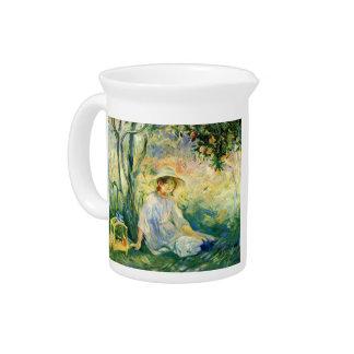 Under the Orangetree by Berthe Morisot Beverage Pitchers