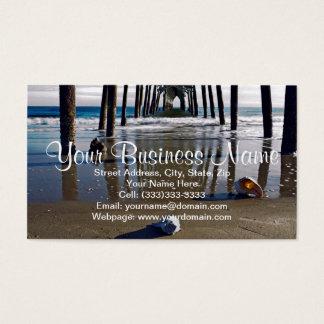 Under the Pier Beach Scene with Seashells Business Card