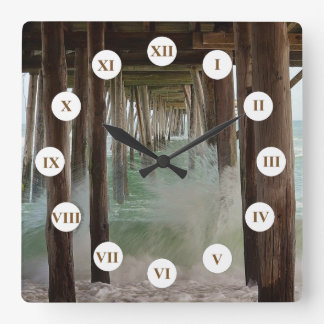 Under The Pier by Shirley Taylor Square Wall Clock
