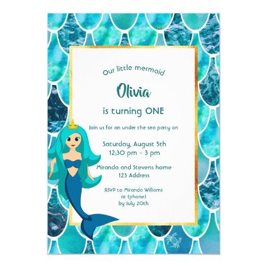 Under The Sea 1st Birthday Party Mermaid Princess Invitation