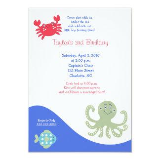 Under the Sea 5x7 Calypso Birthday Crab Card