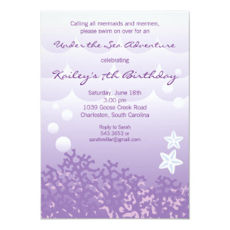 "Under the Sea Adventure Birthday Party Invitation 5"" X 7"" Invitation Card"