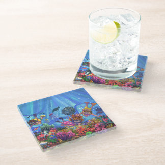 Under the Sea Art Glass Coaster