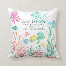 Under the Sea Baby Birth Stats Pillow