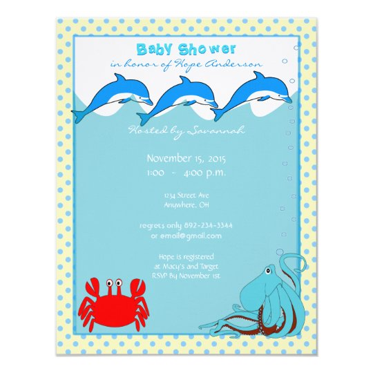 Under the Sea Baby Boy Shower Announcement