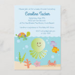 """Under the Sea Baby Boy Shower Invitations<br><div class=""""desc"""">This invitation features cute ocean creatures for a nautical, under the sea themed baby shower! The collection of coordinating products is available in our shop, zazzle.com/doodlelulu*. Contact us if you need this design applied to a specific product to create your own unique matching item or gift! Thank you so much...</div>"""