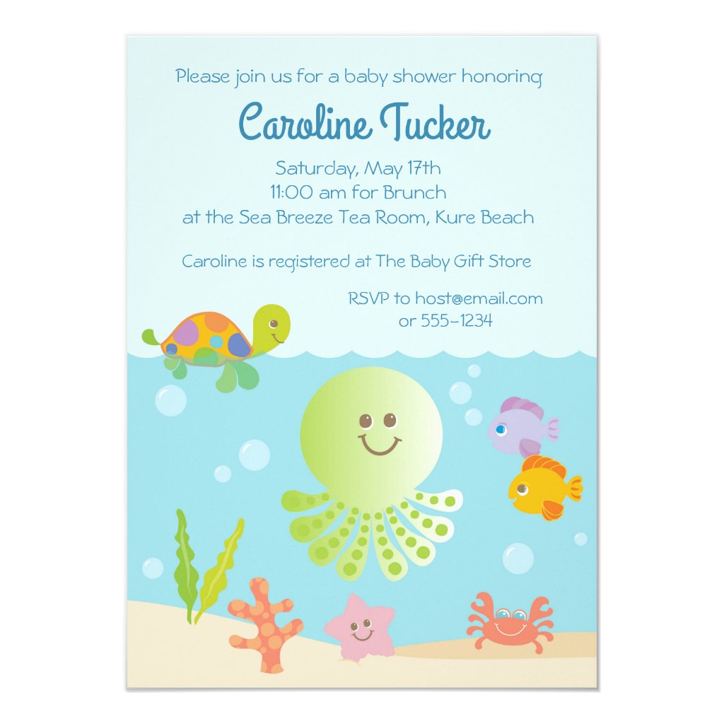 Under the Sea Baby Boy Shower Invitations