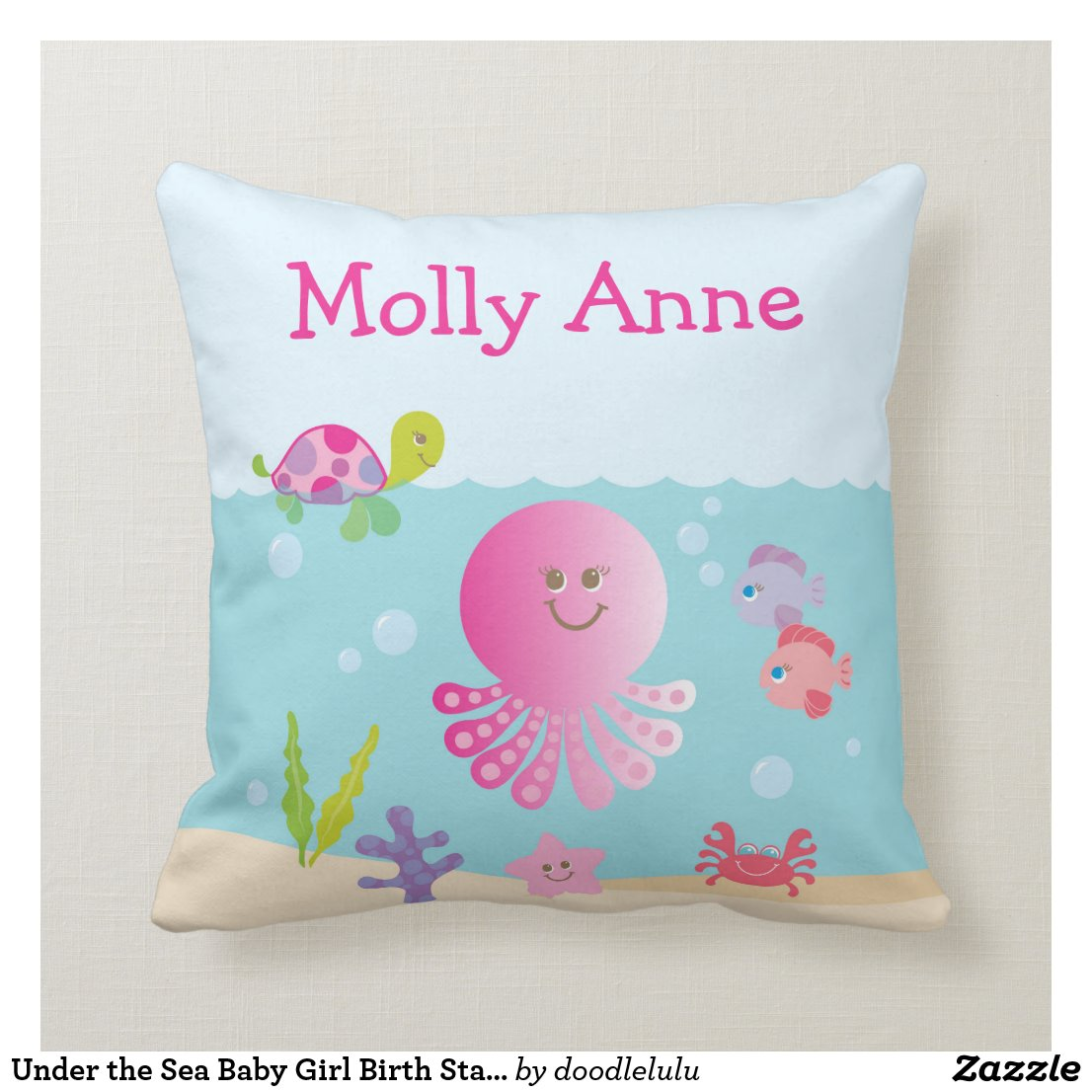 Under the Sea Baby Girl Birth Stats Throw Pillow