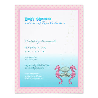 """Under the Sea Baby Girl Shower Announcement 4.25"""" X 5.5"""" Invitation Card"""