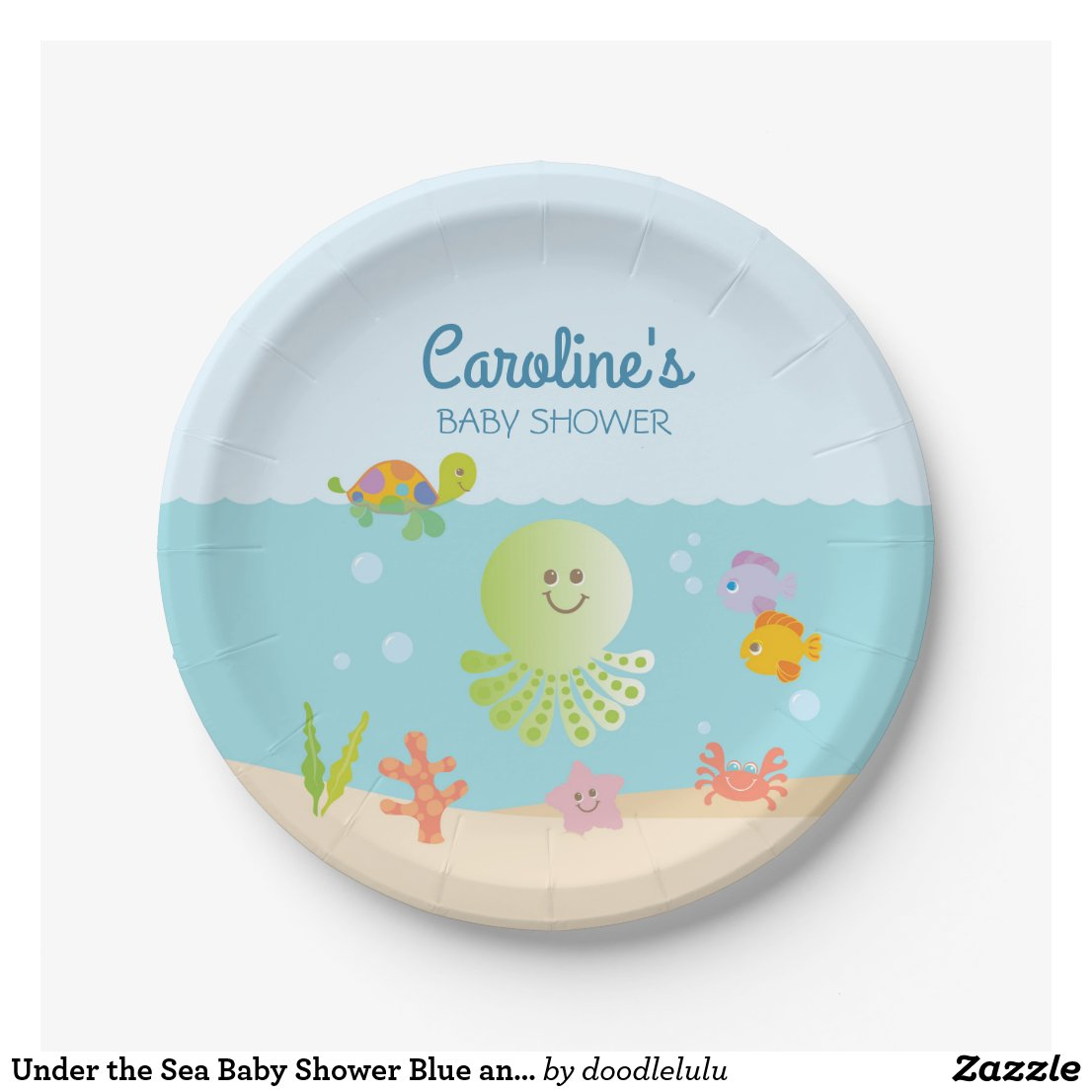 Under the Sea Baby Shower Blue and Green Paper Plate