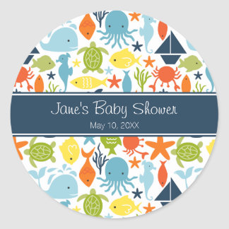 Under the Sea Baby Shower Classic Round Sticker