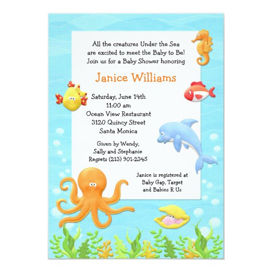 under the sea baby shower invitation zazzle