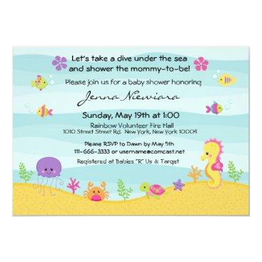 Beach Themed Under The Sea Baby Shower Invitation