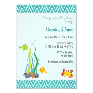 Beach Themed Under The Sea Baby Shower Invitation Ocean Blue