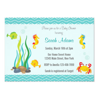 "Under The Sea Baby Shower Invitation Ocean Blue 5"" X 7"" Invitation Card"