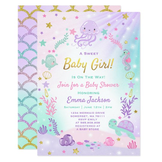 Under The Sea Baby Shower Invitation Pink Gold