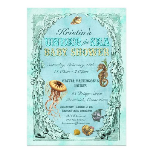 under the sea baby shower invitation teal 5 x 7 invitation card