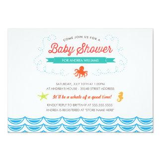 """Under the Sea Baby Shower Invite 5"""" X 7"""" Invitation Card"""