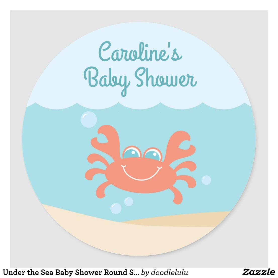 Under the Sea Baby Shower Round Sticker